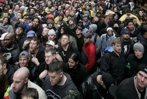 Howard Stern fans at a rally to celebrate the final broadcast